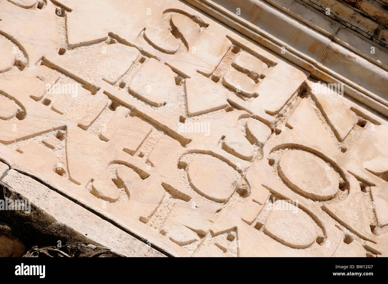 Inscription detail, Arch of Titus, Foro Romano - Stock Image
