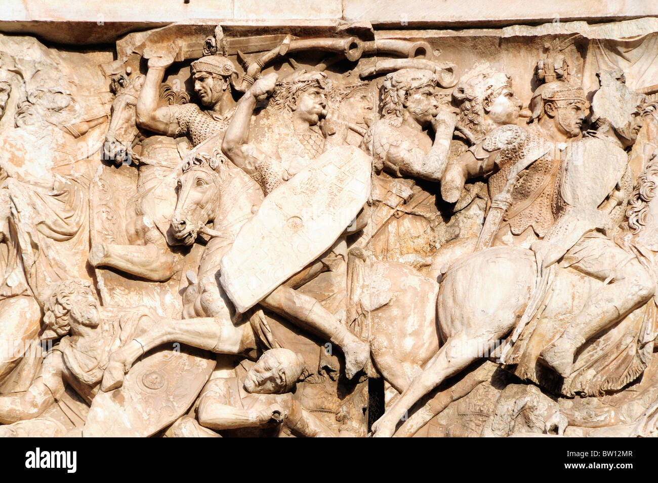Battle scene detail, Arch of Constantine - Stock Image