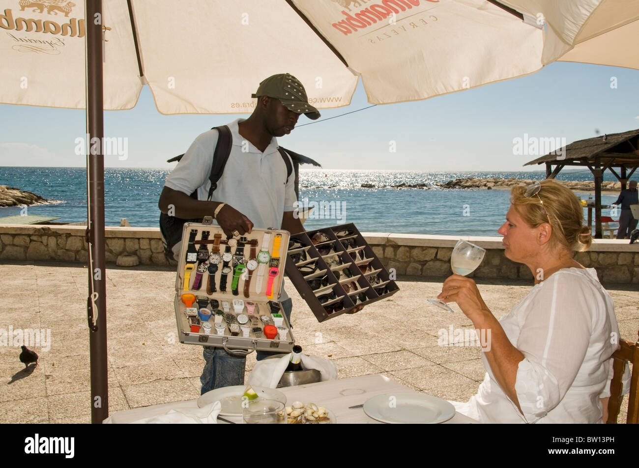 Spain Beach Malaga Watches clandestine immigrant immigration from Africa - Stock Image