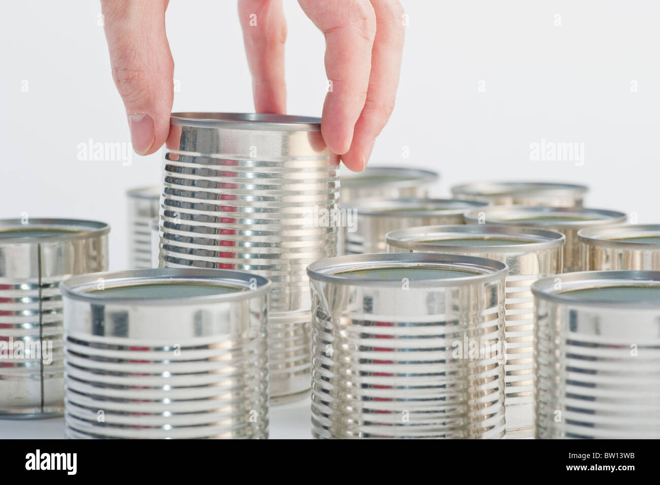 Recycling of empty cans - Stock Image