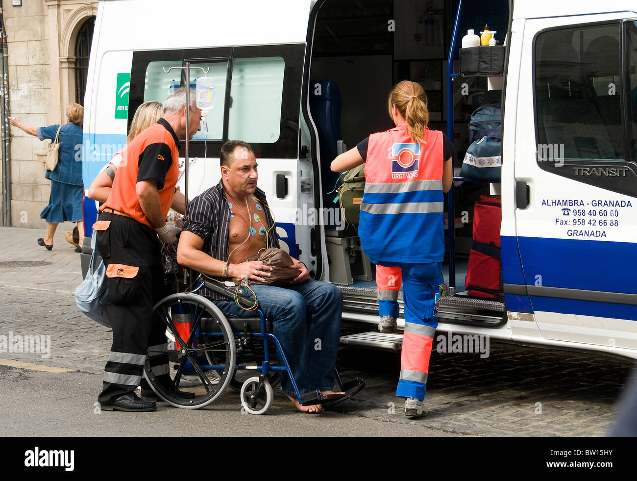 Granada First aid ambulance hospital Spain Andalusia patient doctor - Stock Image