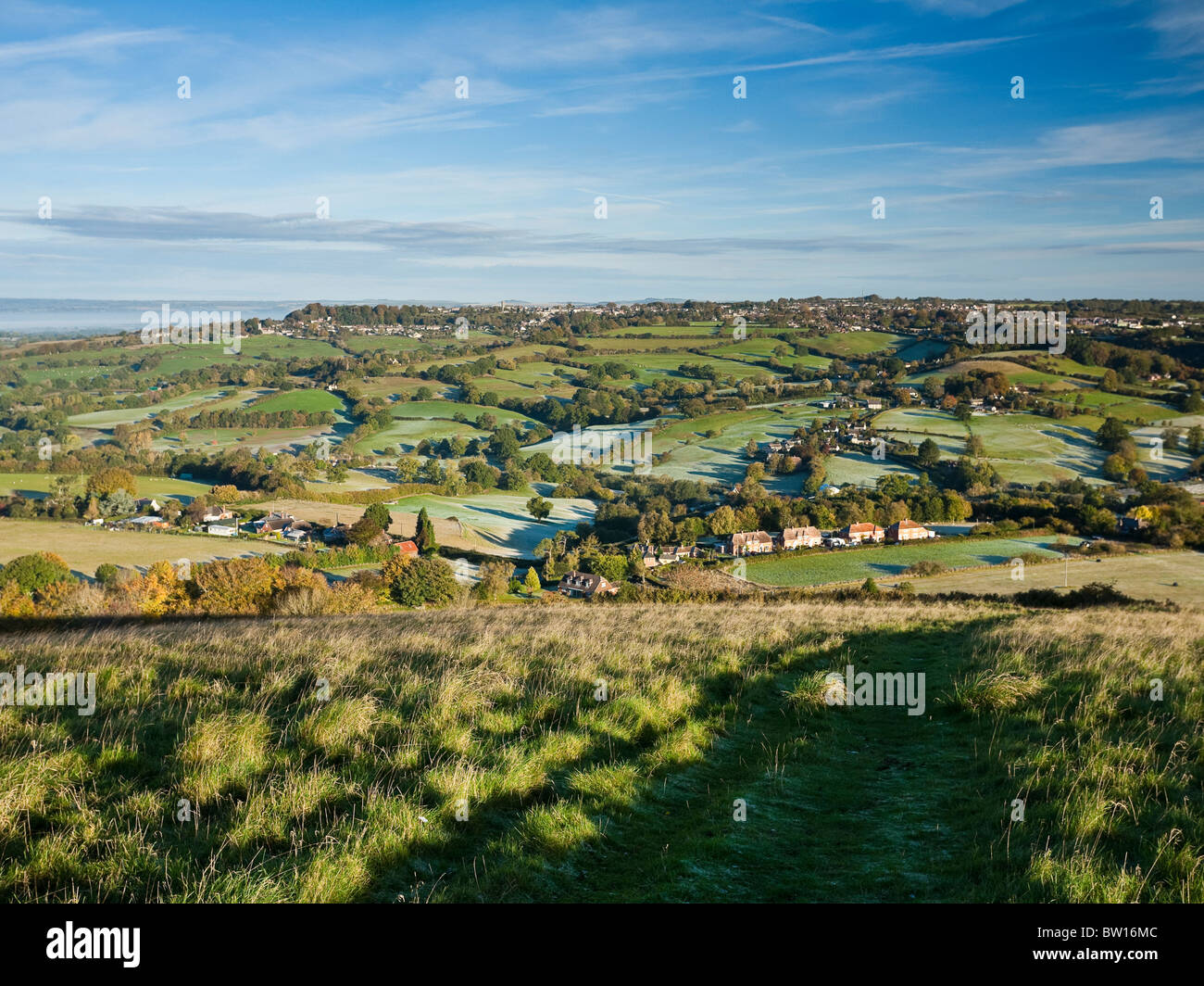 View North over Shaftesbury from Melbury Beacon on a autumn morning. Cranborne Chase ANOB Dorset UK - Stock Image