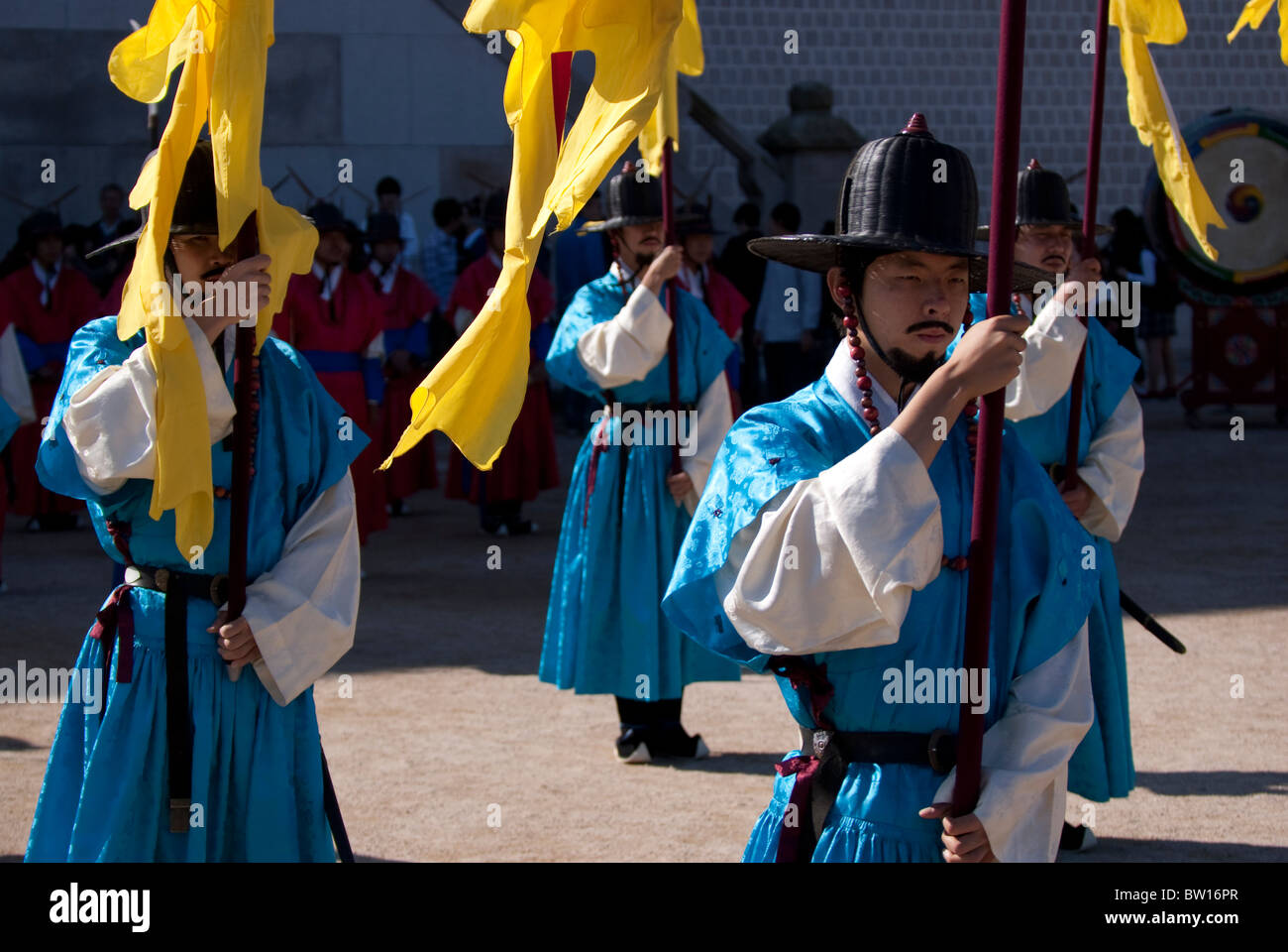 Gyeongbok Palace, Seoul, South Korea, Changing of the Guard re-enactment - Stock Image