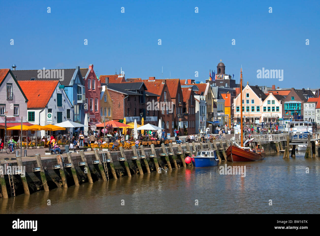 The fishing port of the town Husum along the North Sea, Germany - Stock Image