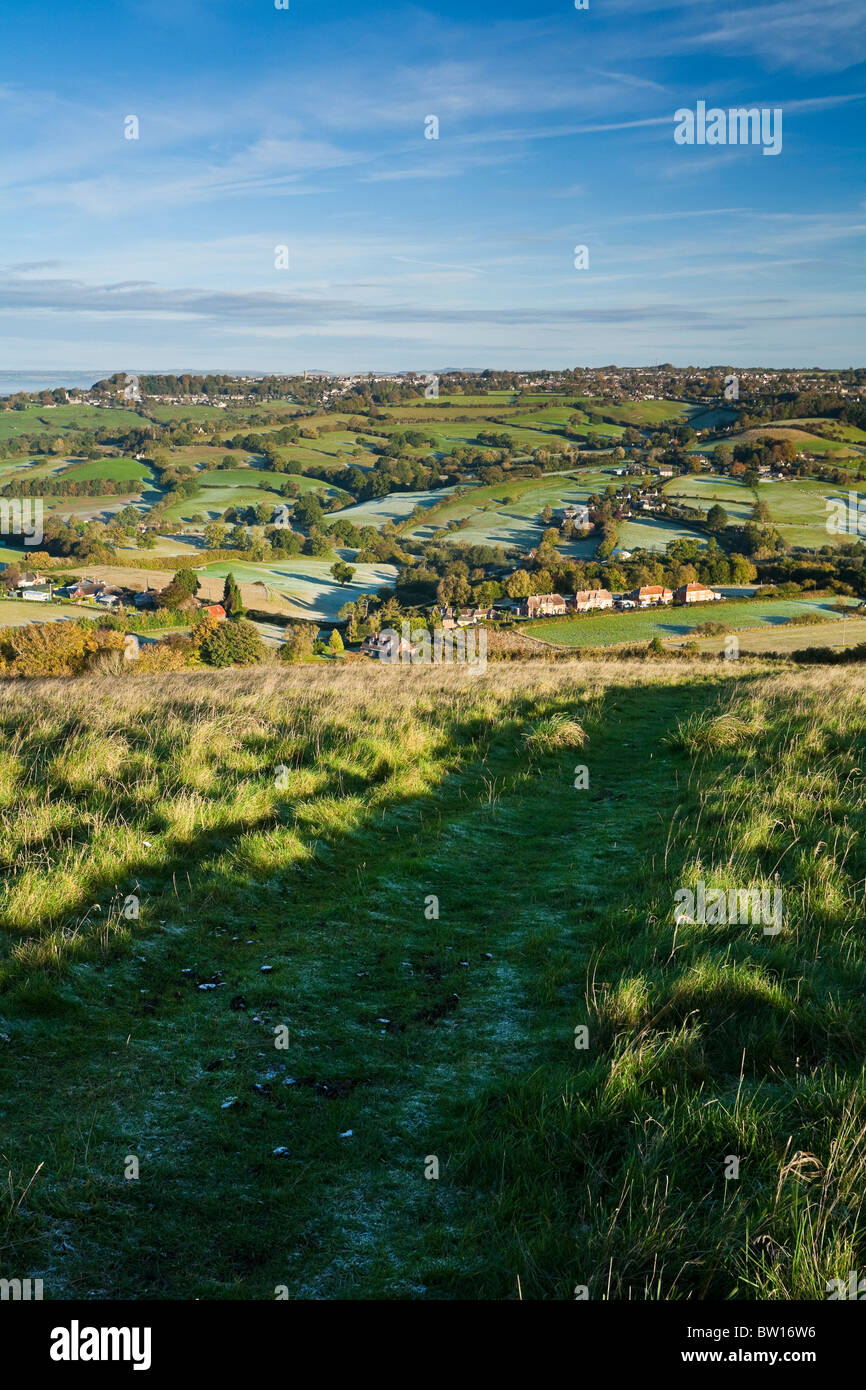 View North over Shaftesbury from Melbury Beacon on a autumn morning. Chanborne Chase ANOB Dorset UK - Stock Image