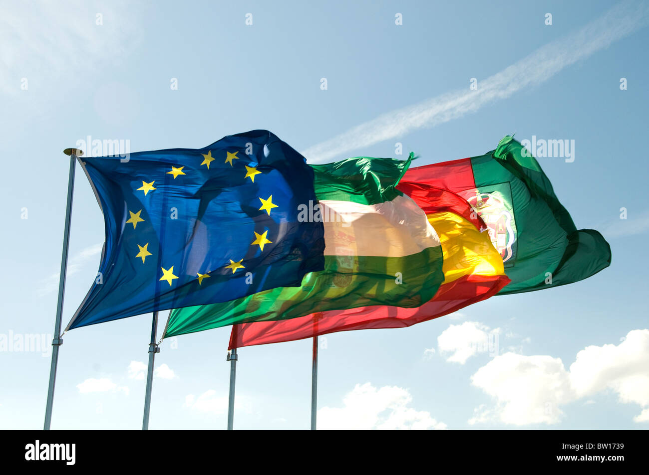 Granada Spain Flag Flags European Europe  Spanish Andalucian - Stock Image