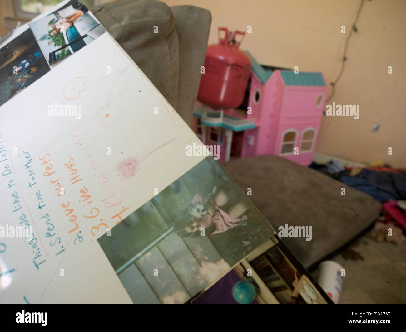 Abandoned personal property left behind in a bank-owned foreclosure in Bozrah, Connecticut, United States - Stock Image
