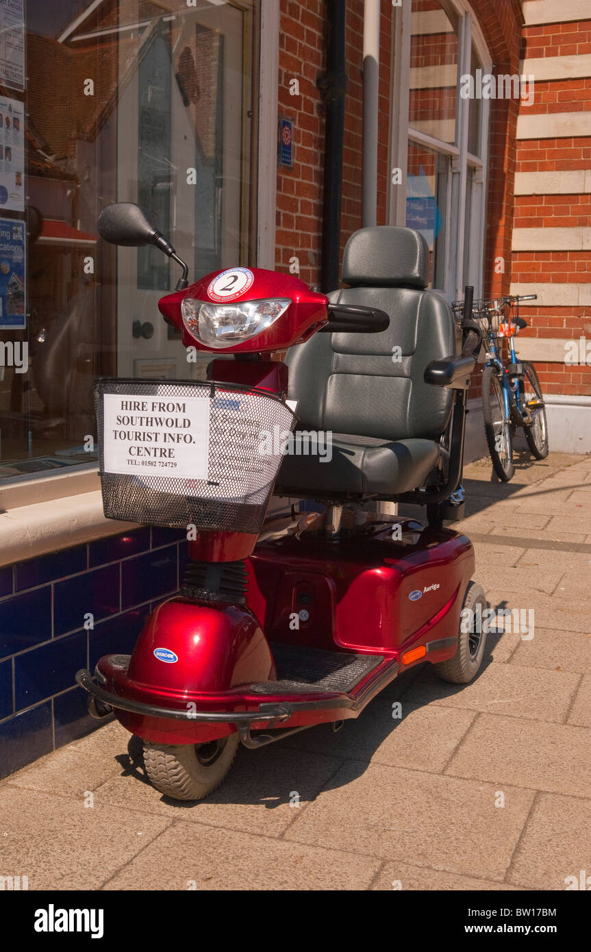 A mobility scooter buggy for hire in Southwold , Suffolk , England , Great Britain , Uk - Stock Image