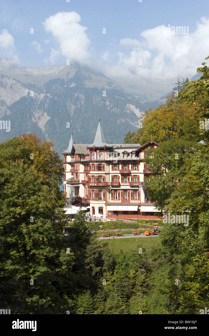 Famous hotel and restaurant at Giessbach falls in Bernese Oberland in Switzerland. Stock Photo