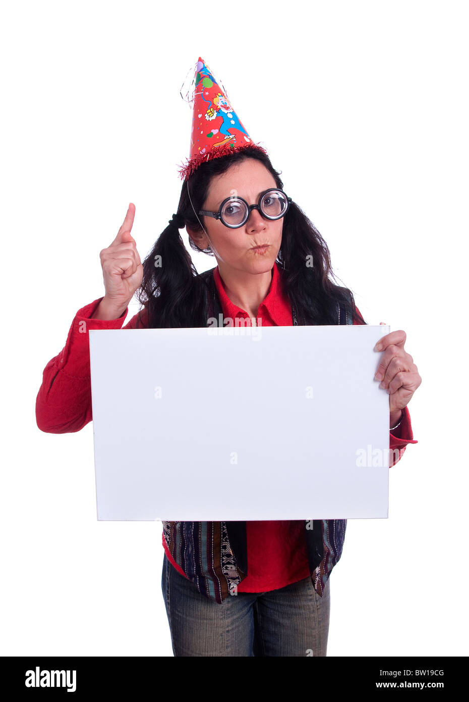 Cheerful nerd woman (mature woman on 40s) holding an empty card to place an  advertisement;