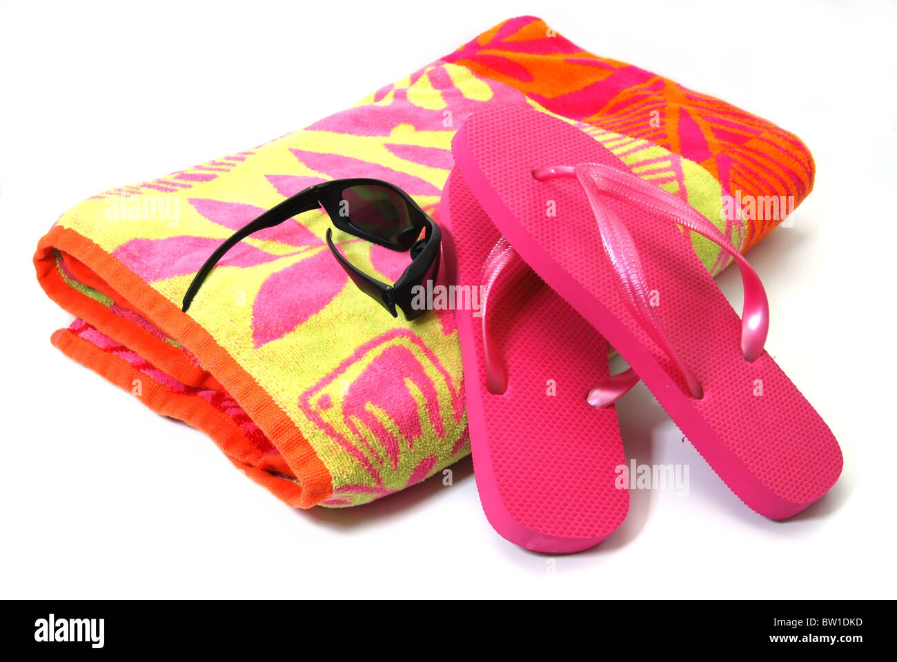 a238b988e7610d Flip Flops And Beach Towel Isolated Stock Photos   Flip Flops And ...
