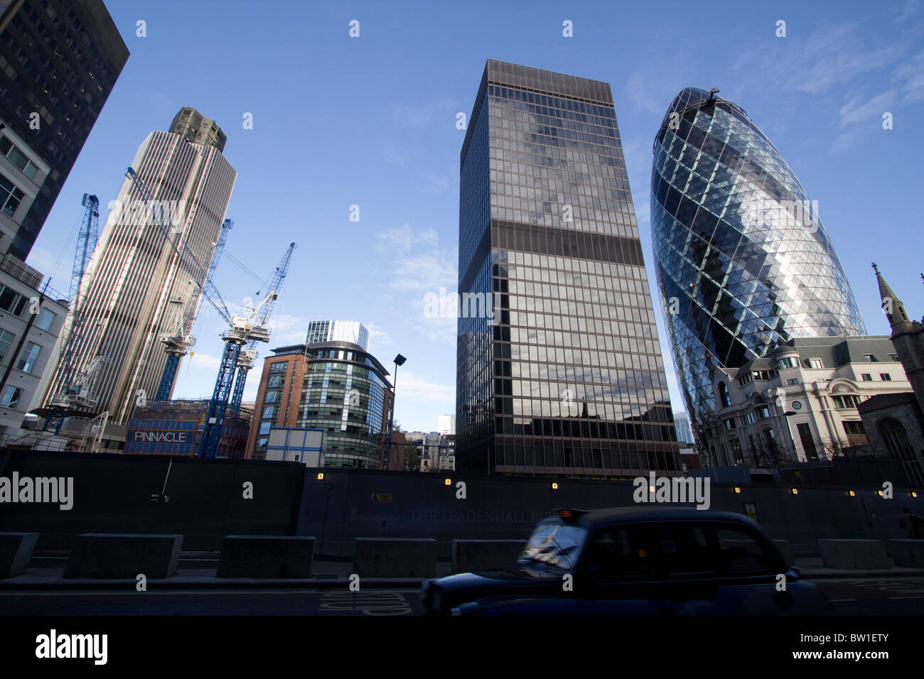 London building  works,Tower 42 aka Natwest tower, works for the Pinnacle tower Aviva building and the  swiss re - Stock Image