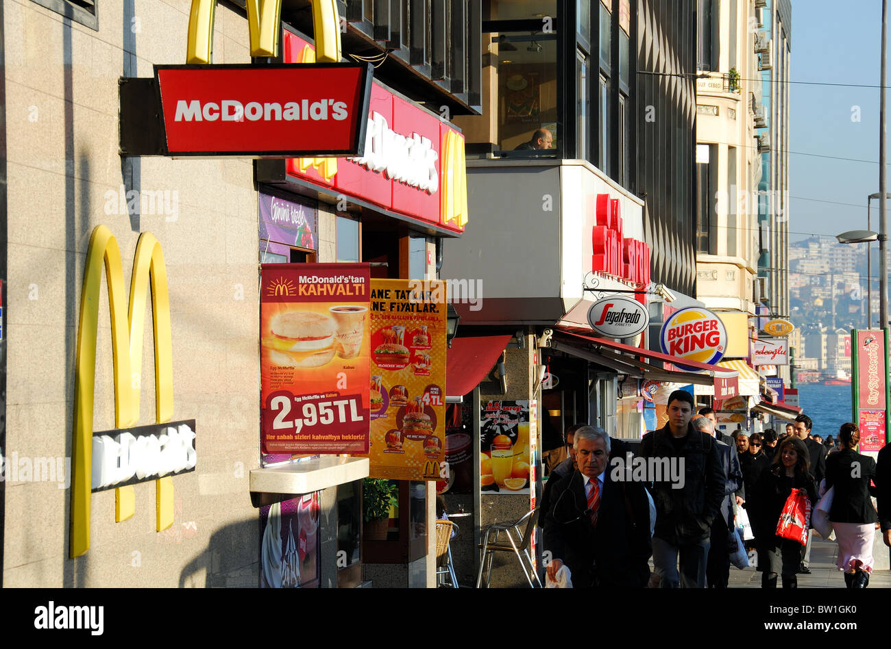 ISTANBUL, TURKEY. Turkish and international fast food restaurants opposite Sirkeci railway station. 2010. Stock Photo