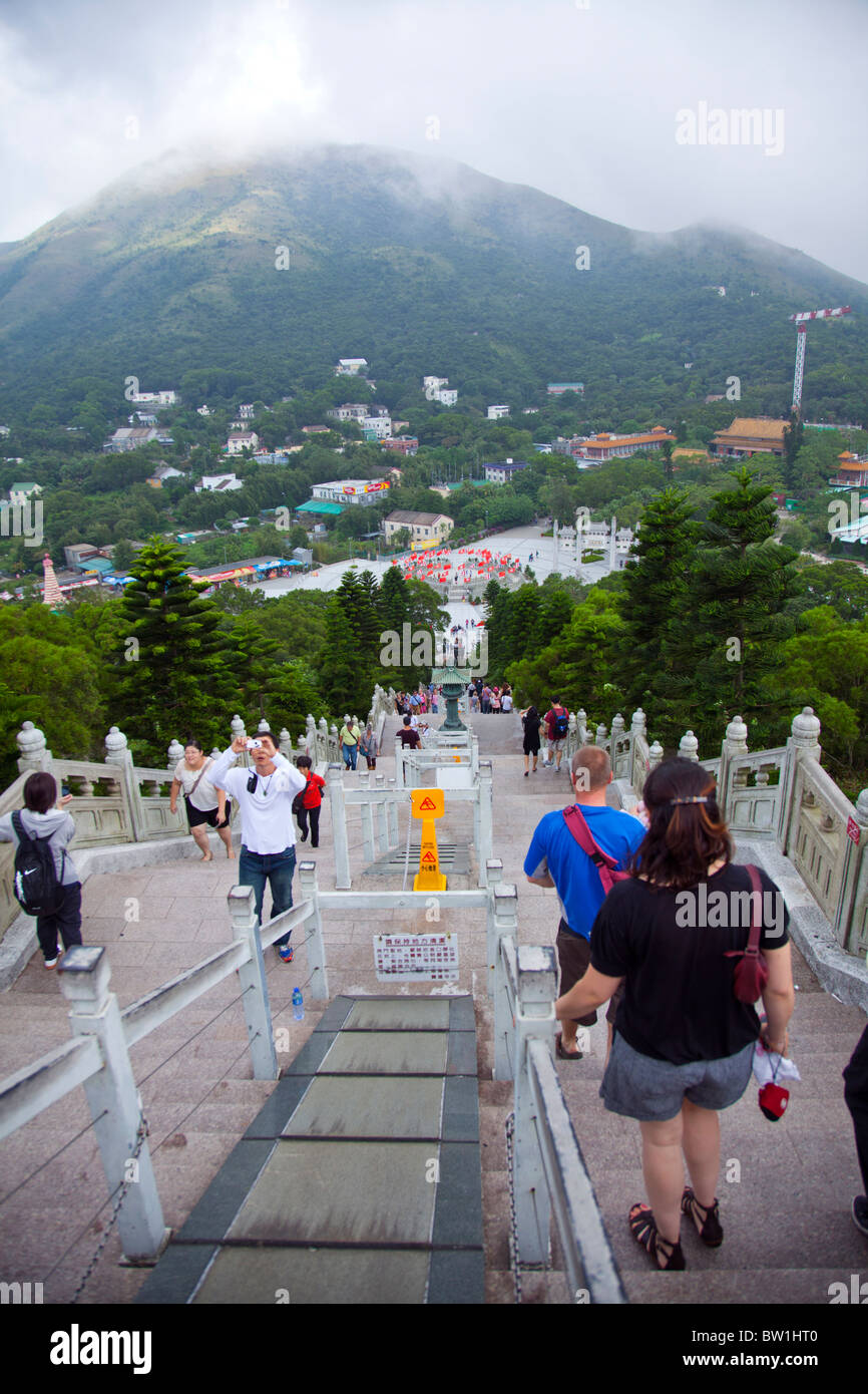 Looking down from the seated buddah towards Po Lin Monastery, on Lantau Island Hong Kong - Stock Image