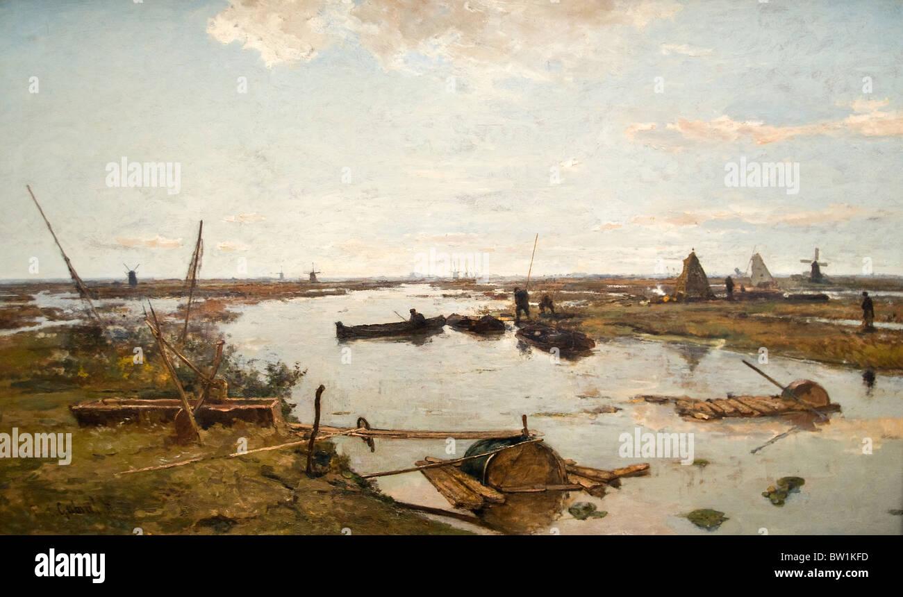 Netherlands Painting Paul Gabriel The Kamper Veenderij Grafhorst 1889 - Stock Image
