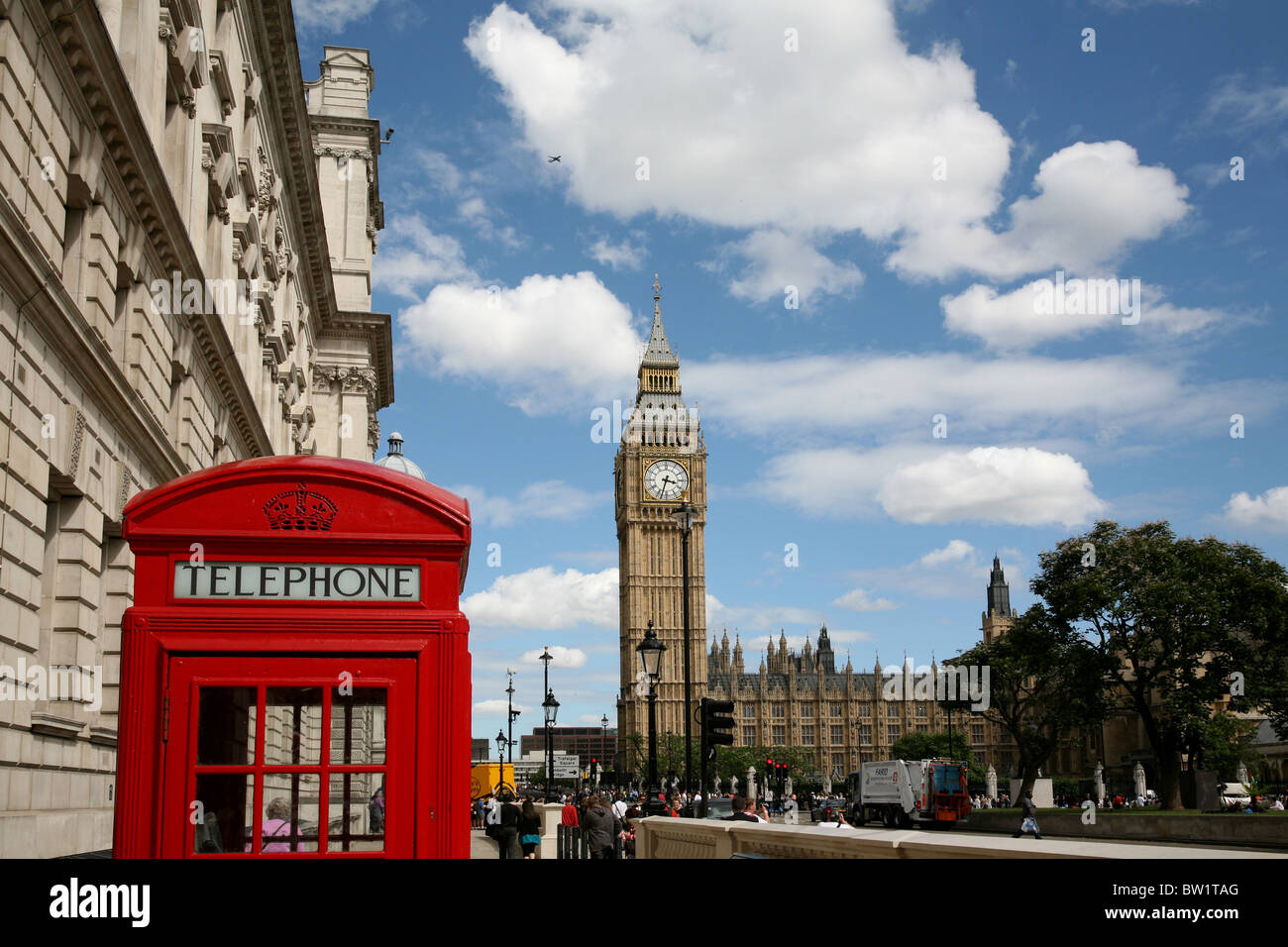 London red telephone box and Big Ben - Stock Image