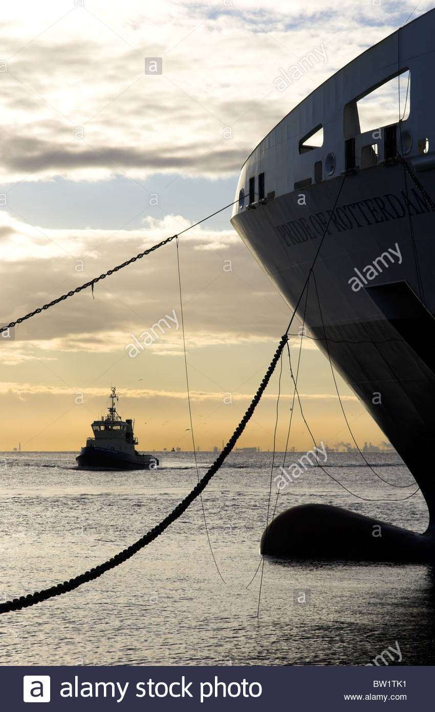 The tug boat 'Svitzer Constance' and the bow of the 'Pride of Rotterdam' ferry at Hull port, Humberside, - Stock Image