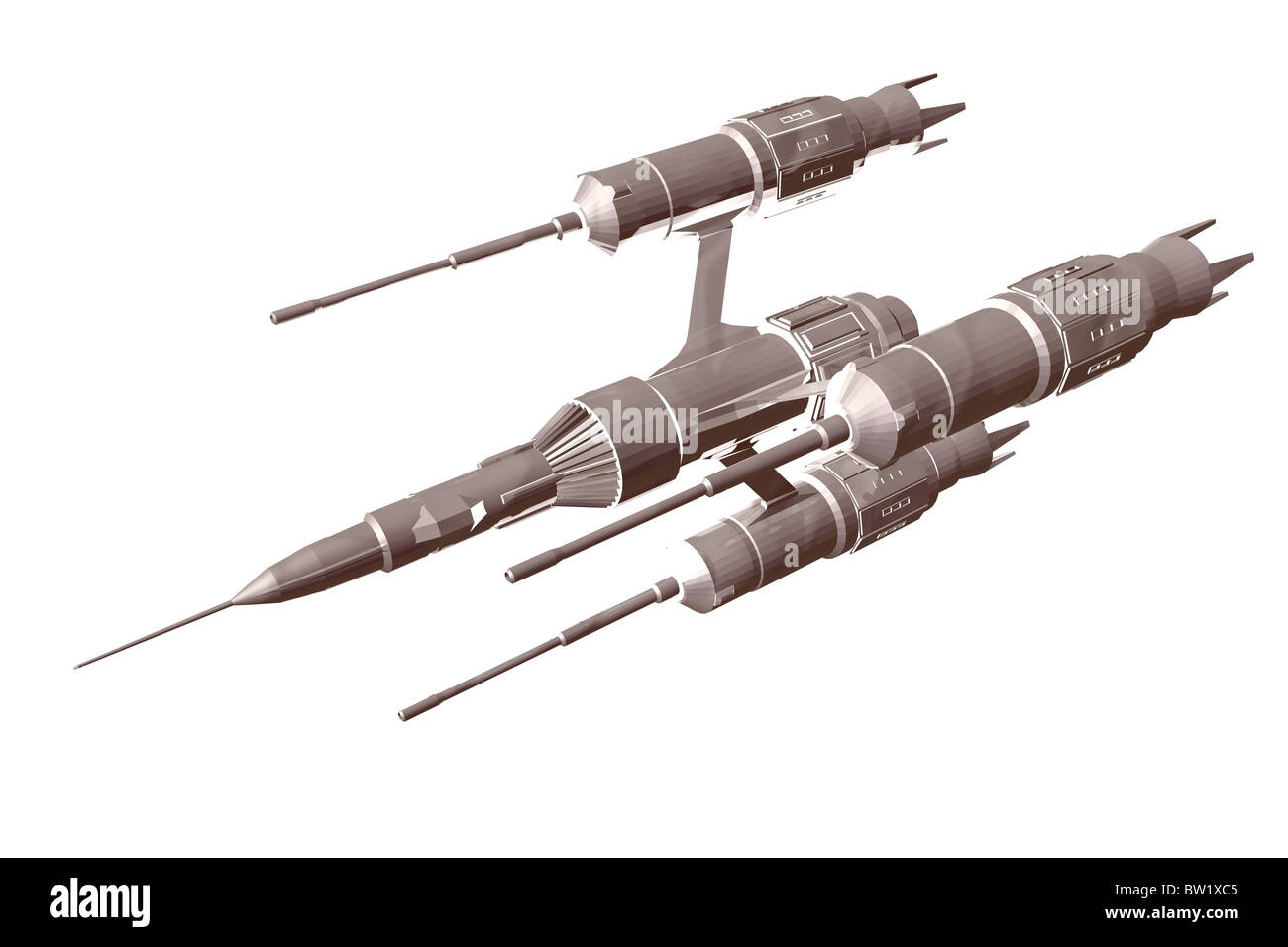 3D isolated illustration of a spaceship - Stock Image