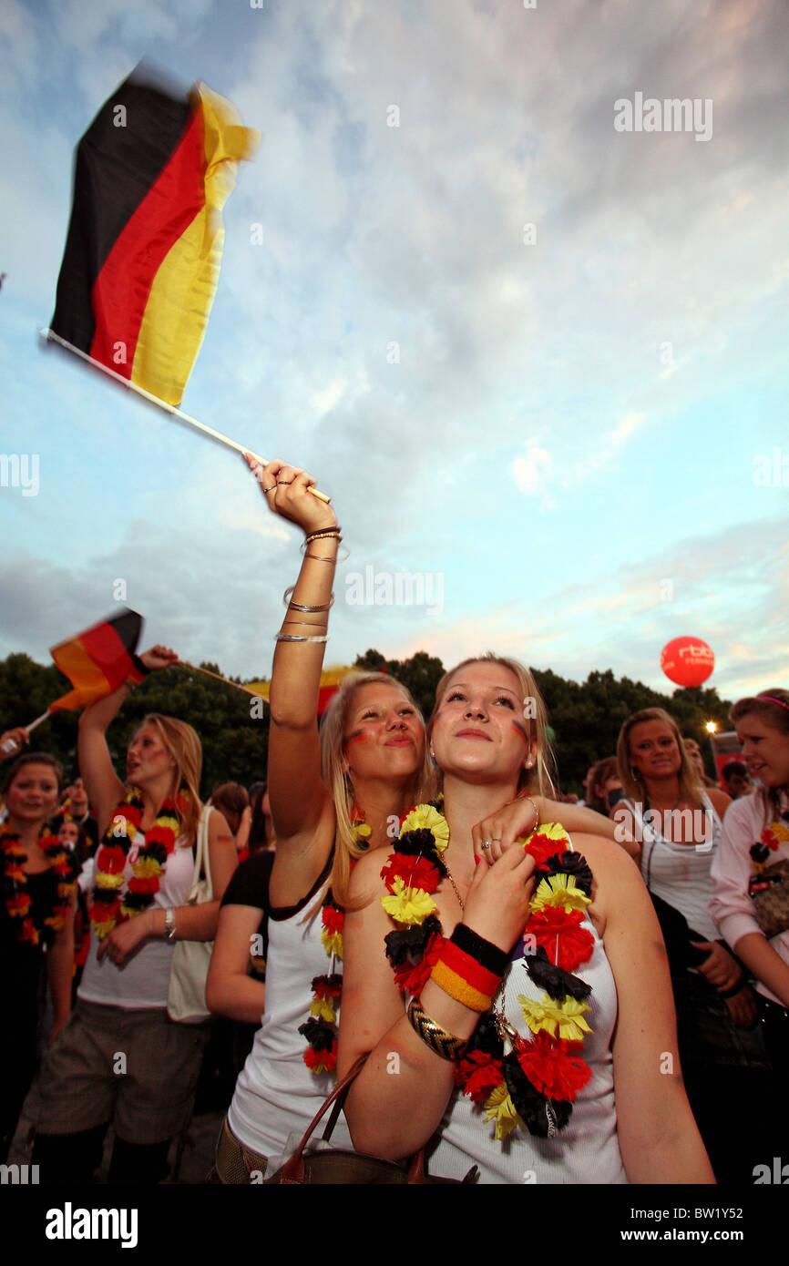 Football fans at Fan Fest Berlin, Germany - Stock Image