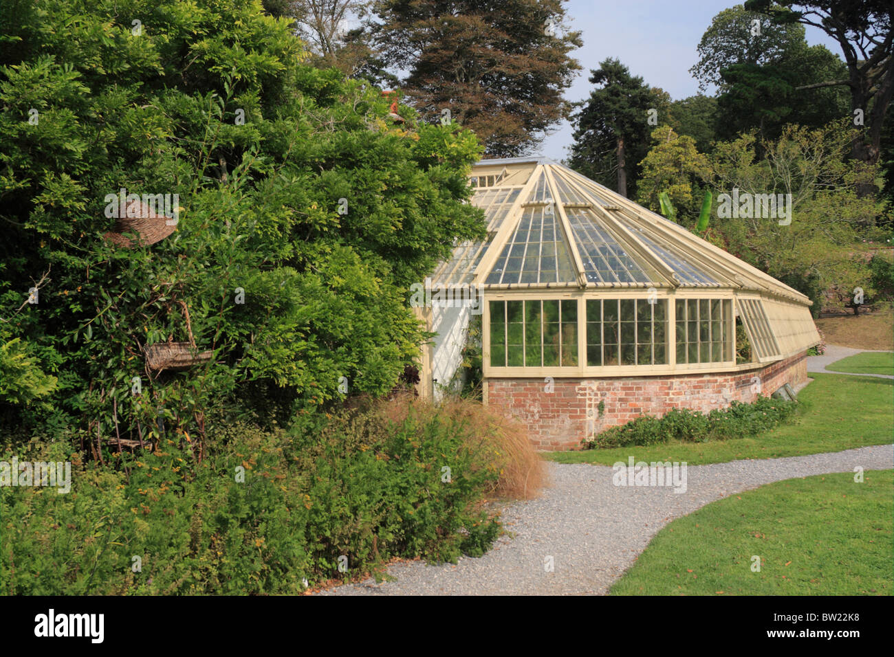 Wood And Brick Greenhouse In Gardens At Greenway House Former Home Of  Agatha Christie Dartmouth Devon UK
