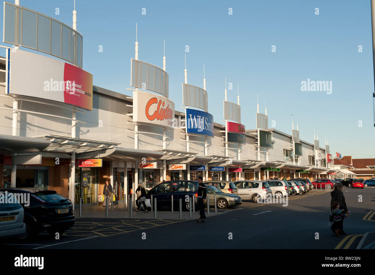Trostre retail park out of town shopping mall Llanelli Wales UK - Stock Image