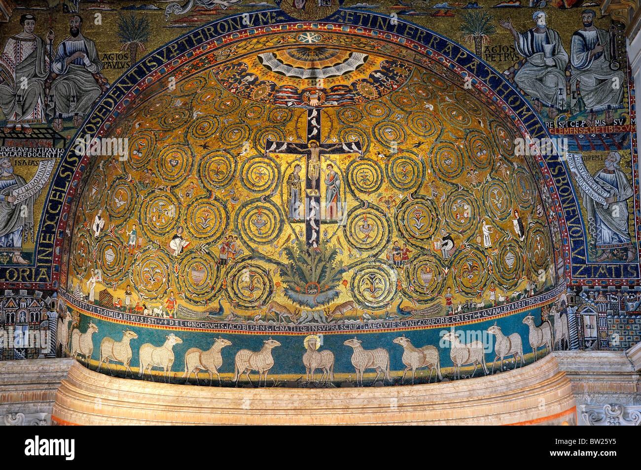 Triumph of the Cross, Apse mosaics, Basilica San Clemente Stock Photo
