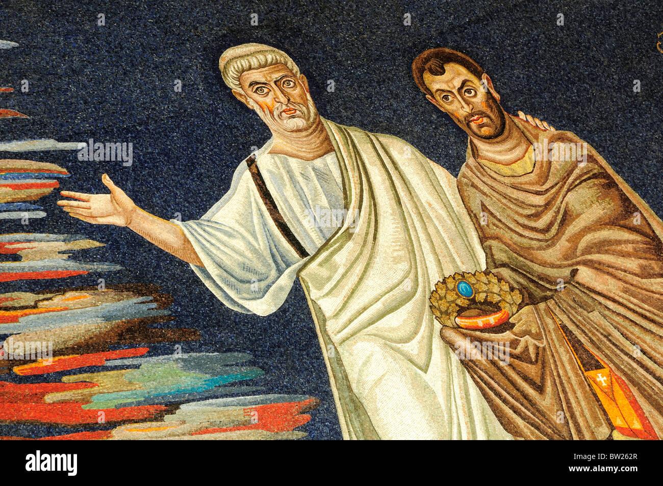 Mosaic detail of Saints, Basilica of St Cosmas & Damian, Foro Romano - Stock Image