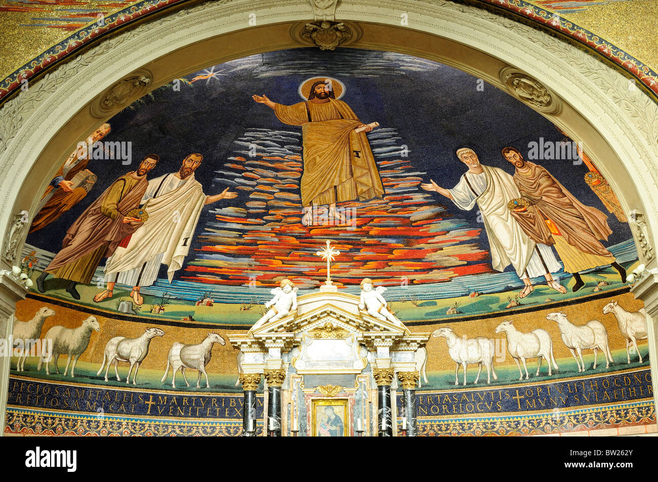 Apse mosaics, Basilica of St Cosmas & Damian, Foro Romano Stock Photo
