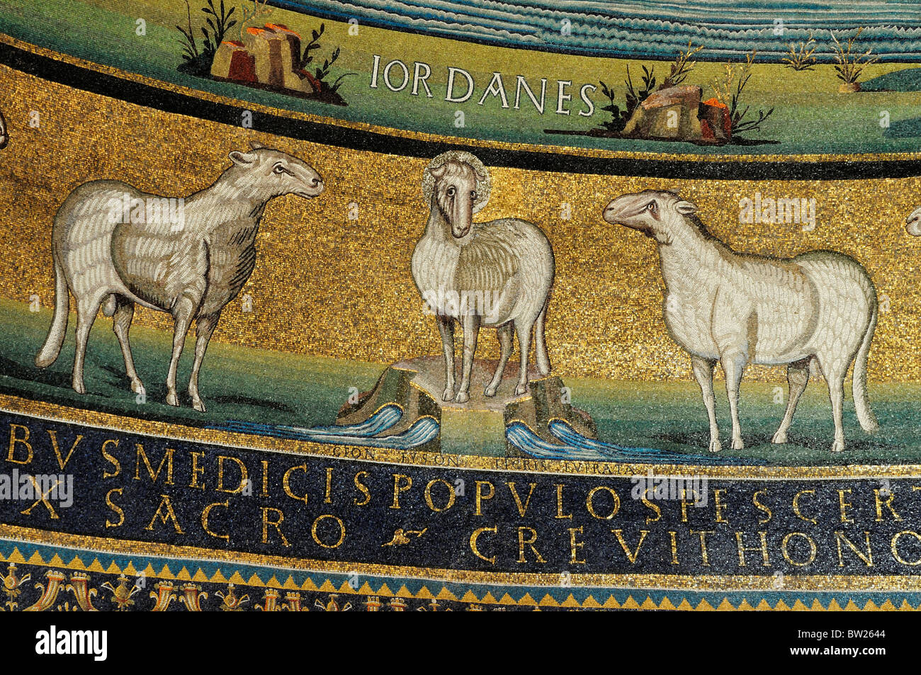 Mosaic detail in Apse, Basilica of St Cosmas & Damian, Foro Romano Stock Photo