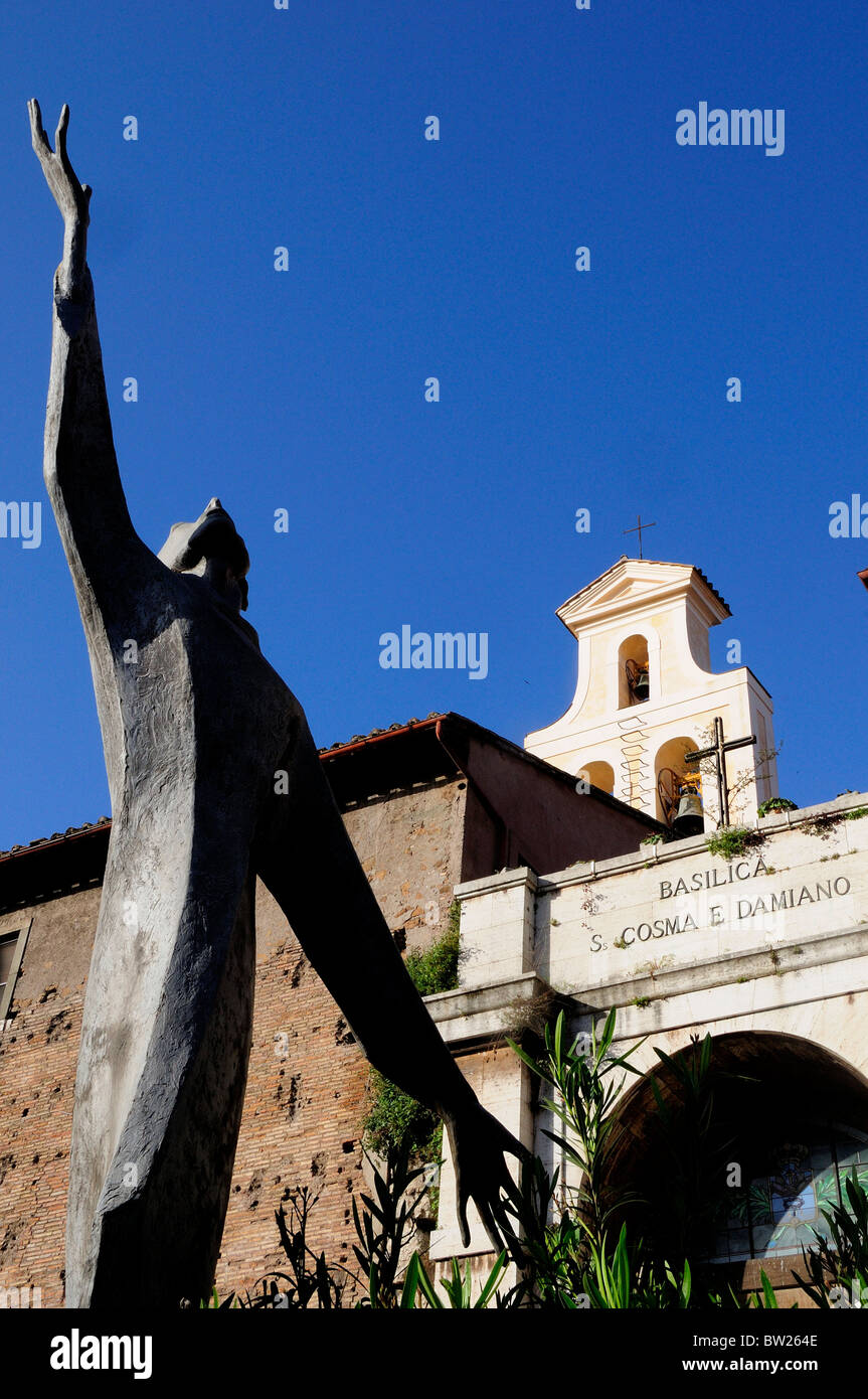 Modern sculpture outside Basilica of St Cosmas & Damian, Foro Romano Stock Photo