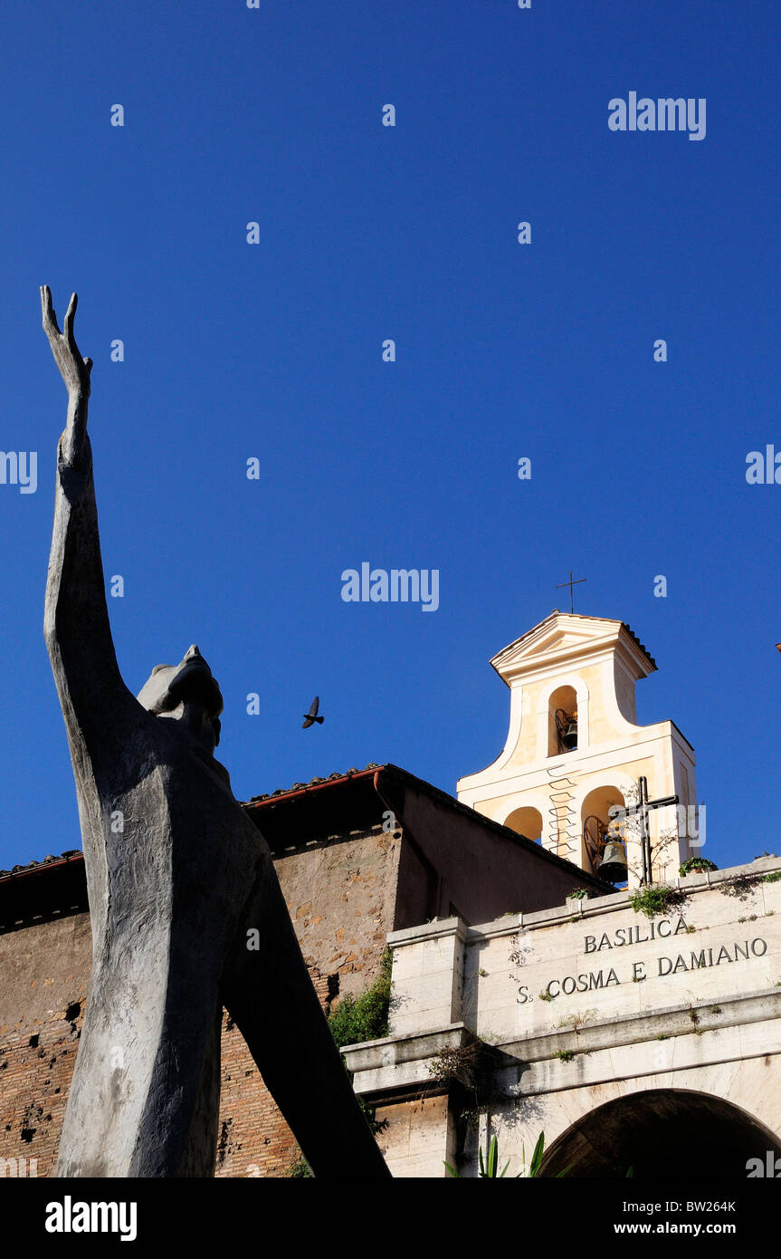 Modern sculpture outside Basilica of St Cosmas & Damian, Foro Romano - Stock Image