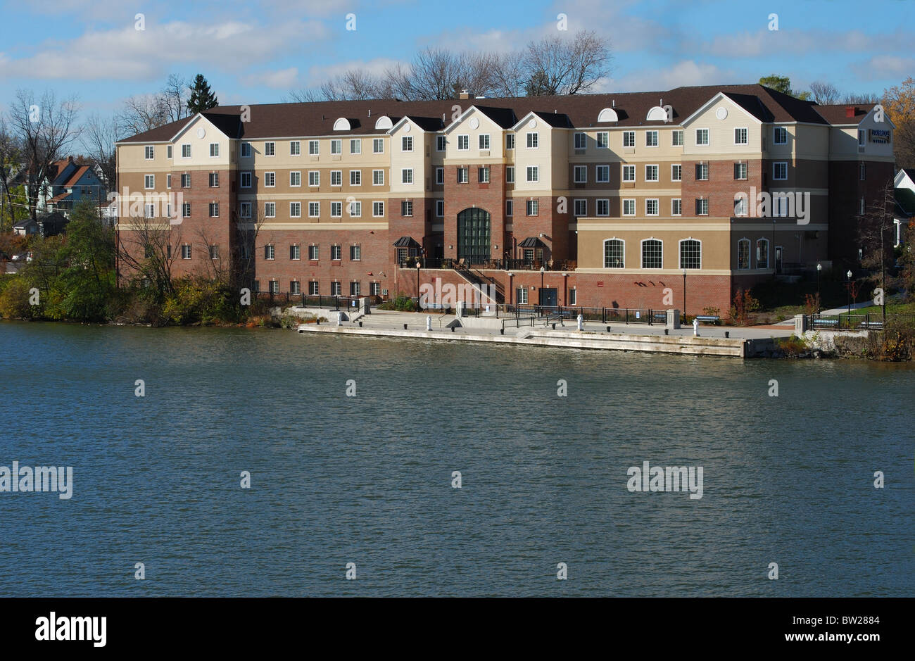 Hotel on the Genesee River in Rochester, New York - Stock Image