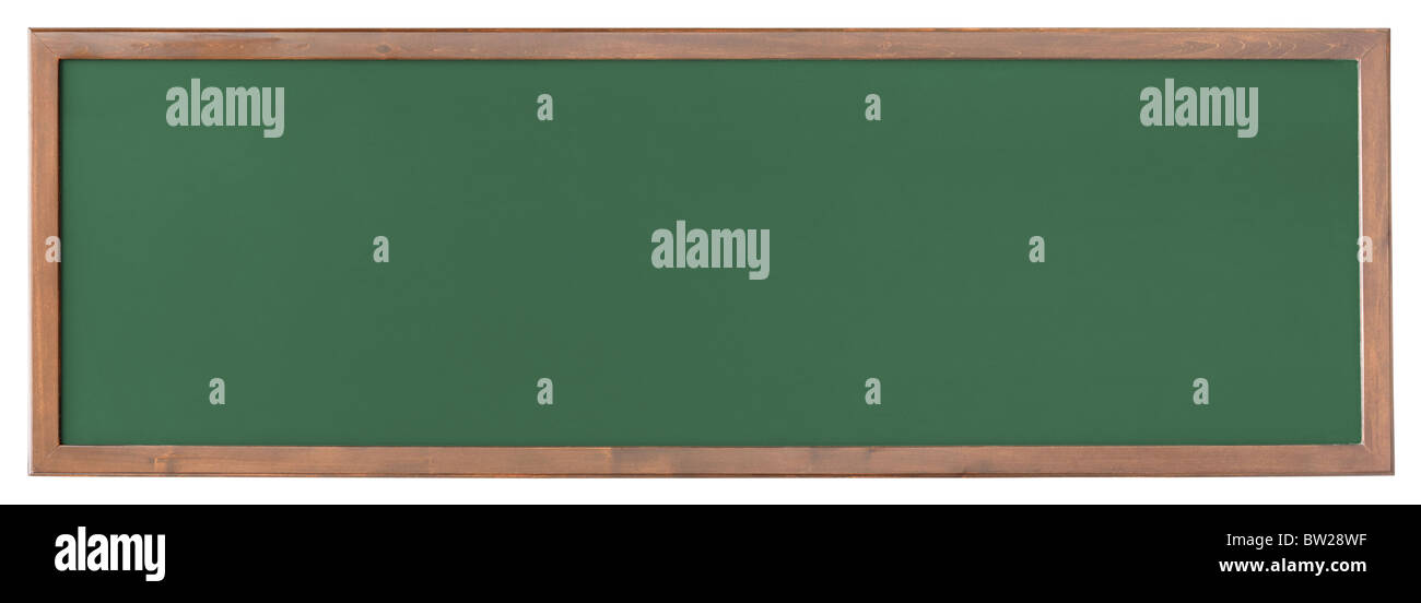 Wide green blackboard isolated on white background - Stock Image