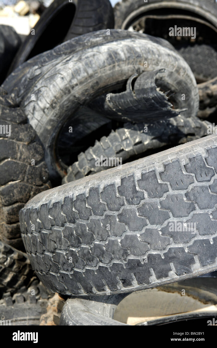 vehicle tires recycle ecological factory waste environment industry - Stock Image