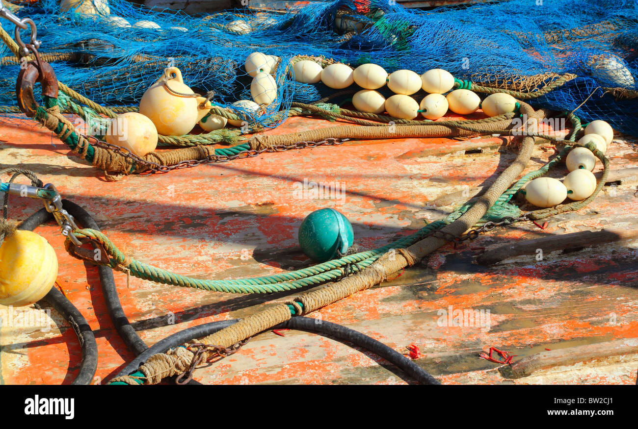 Fisher boat deck with net and tackle professional fisher boat - Stock Image