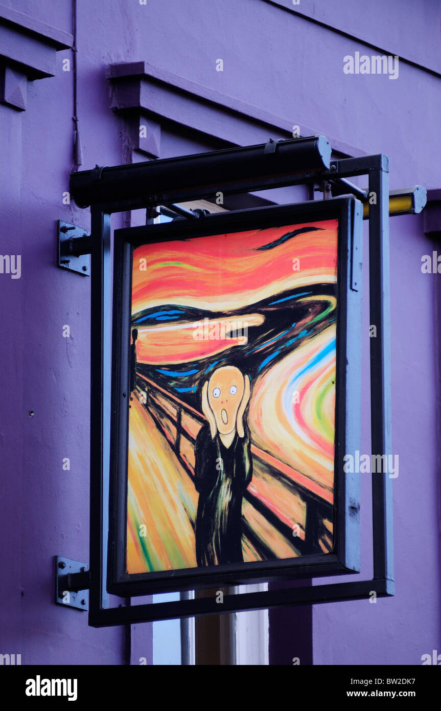 The Scream painting sign at The Hayfield Masala, Mile End Road, London, England, UK - Stock Image