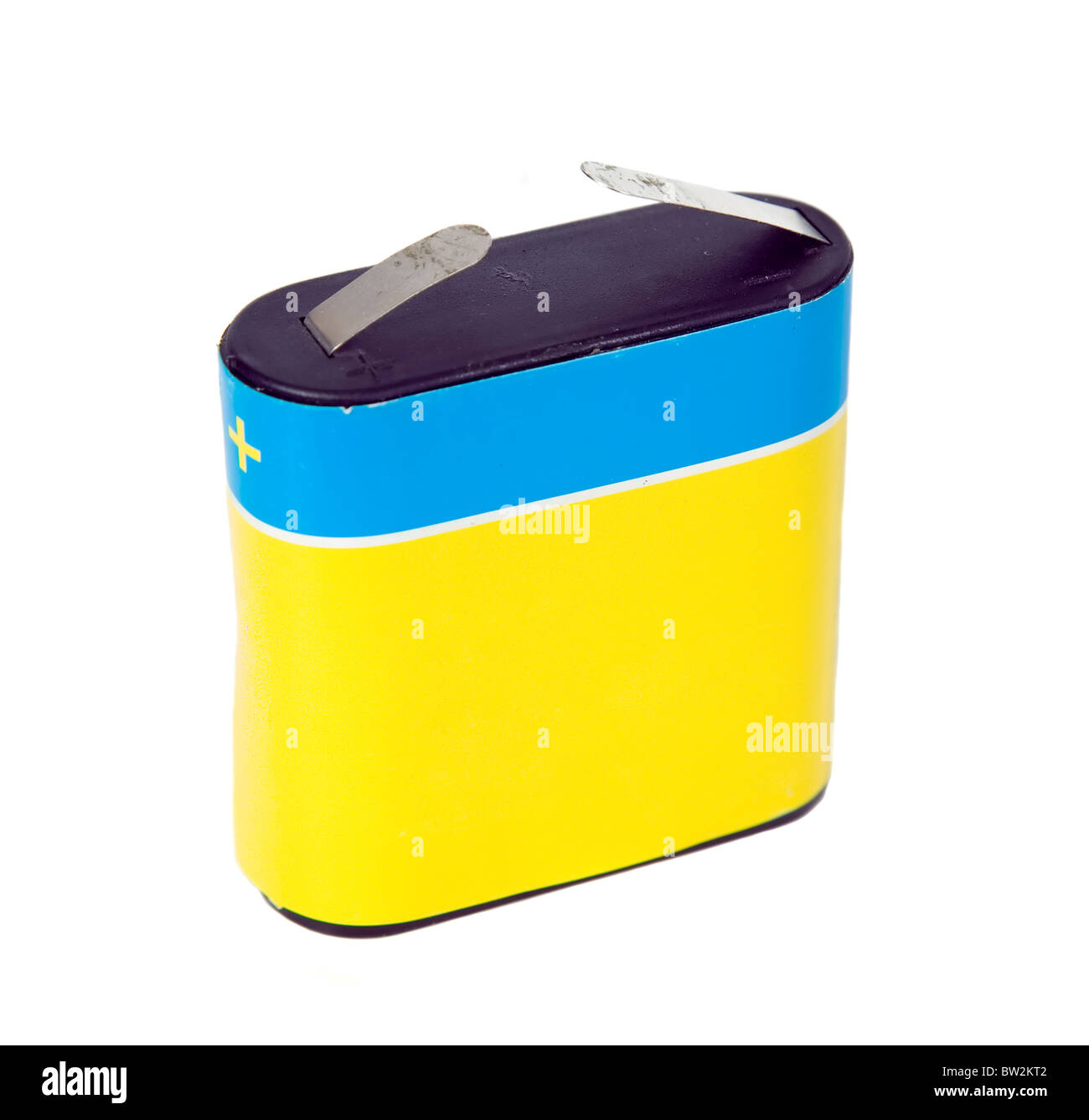 This is old two contacts battery, high voltage and capacity - Stock Image