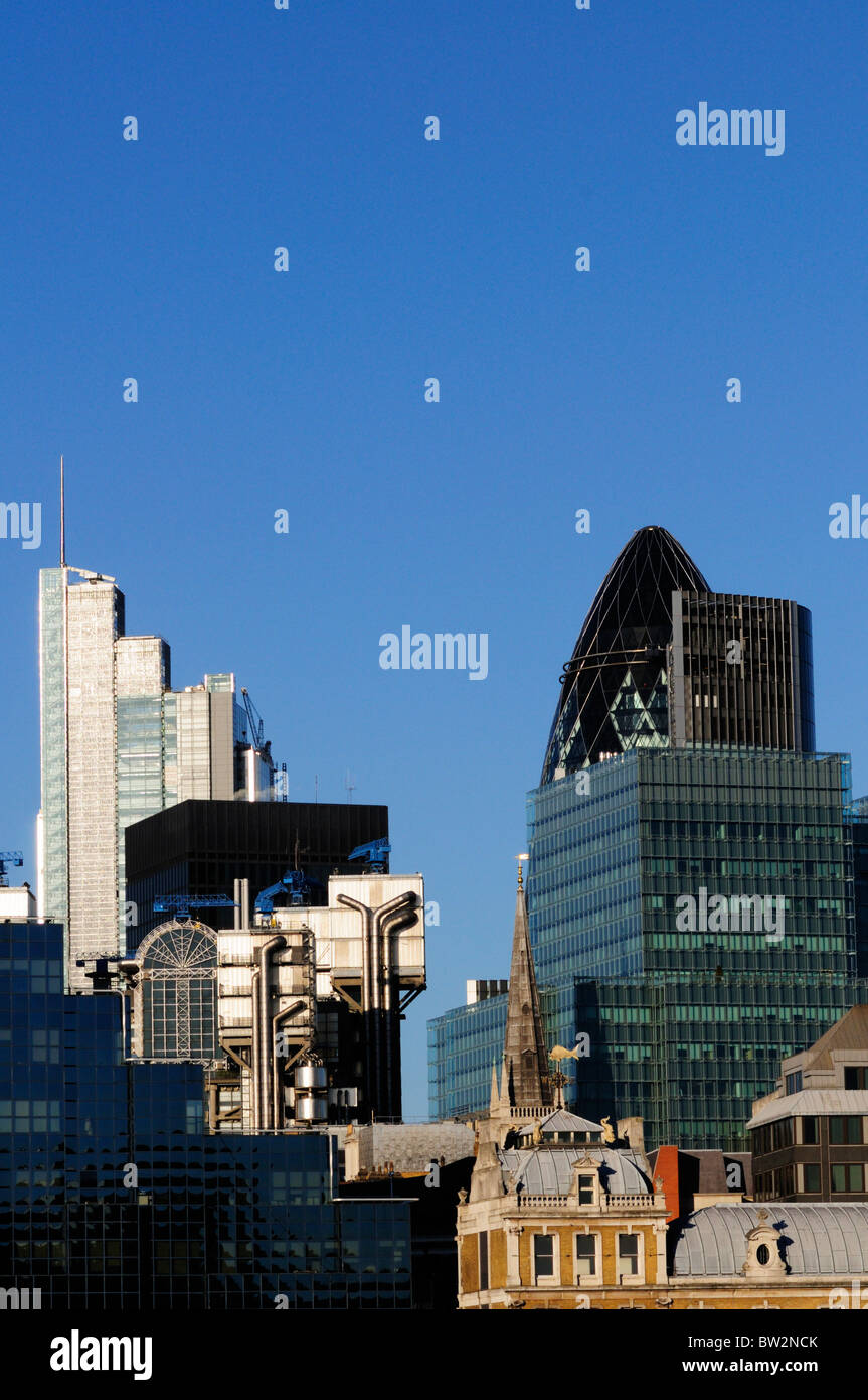 Abstract architectural detail of city of London buildings, London, England, UK - Stock Image