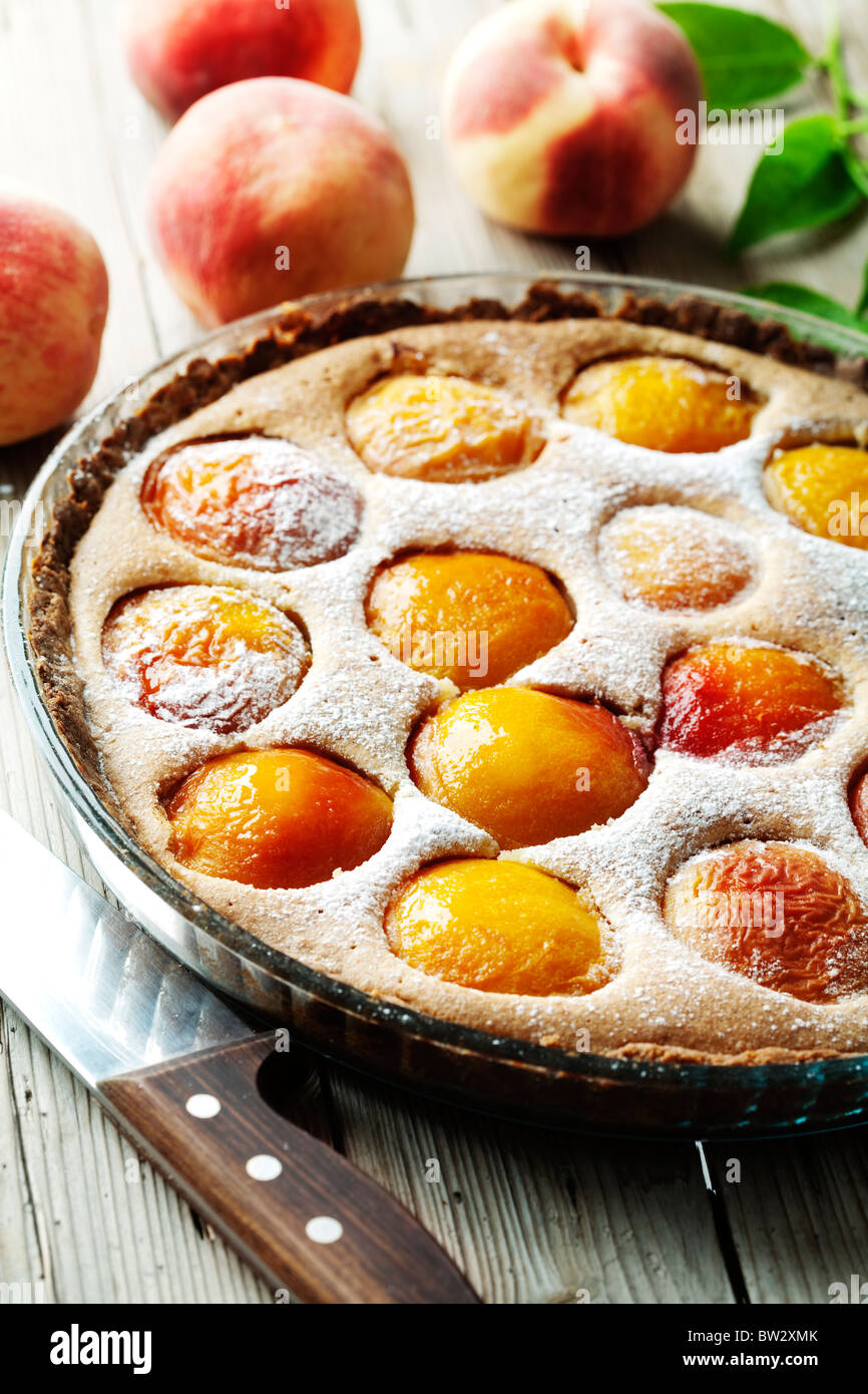 peach tart - Stock Image