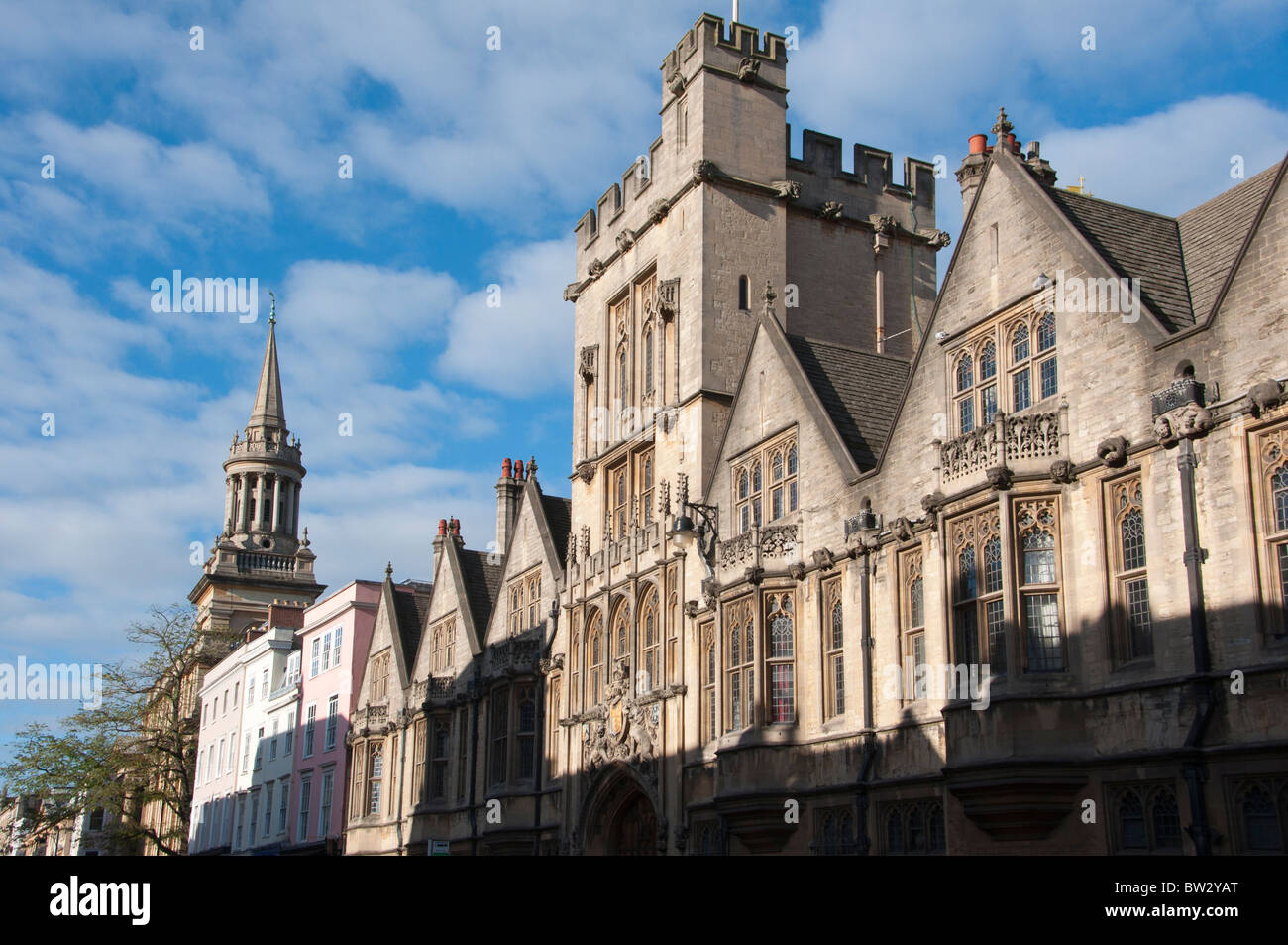 A view up Oxford high street with All Saints Church or Lincoln college library and Brasenose College Oxford England. - Stock Image