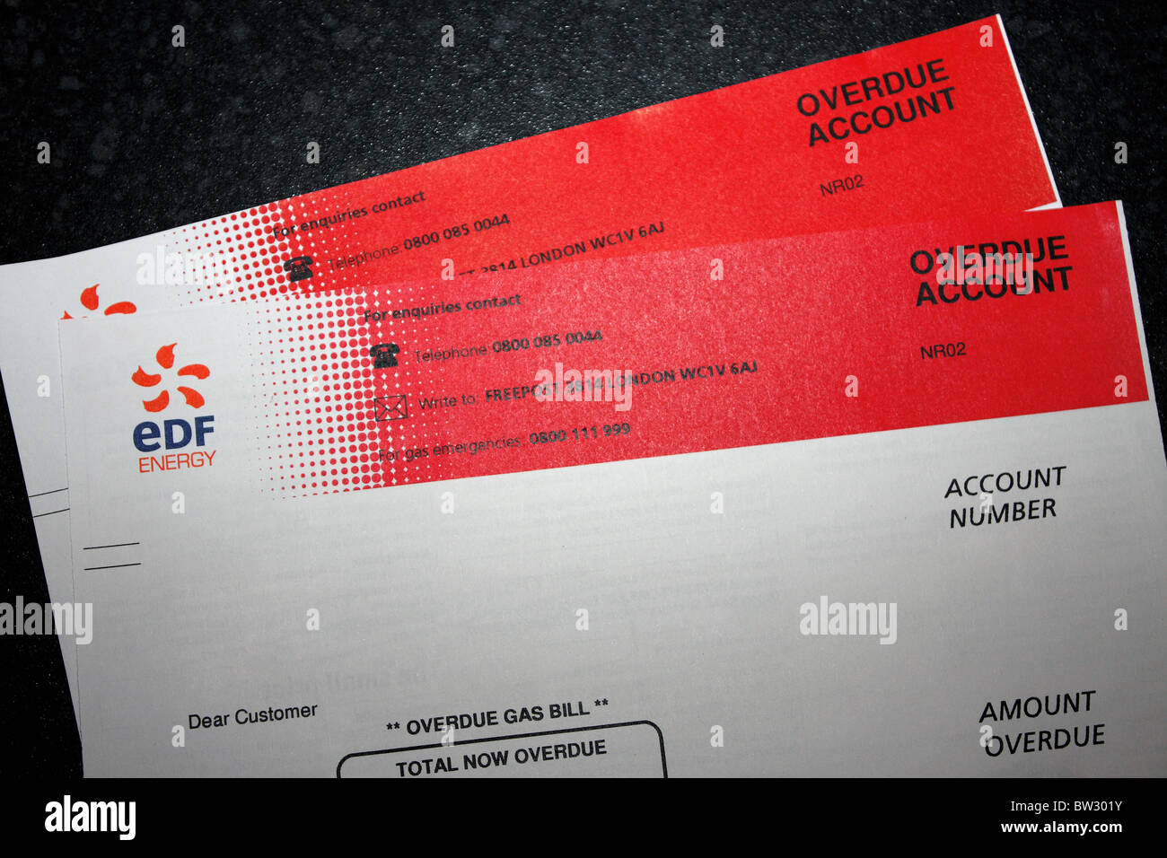 an edf energy bill showing a red overdue account in debt