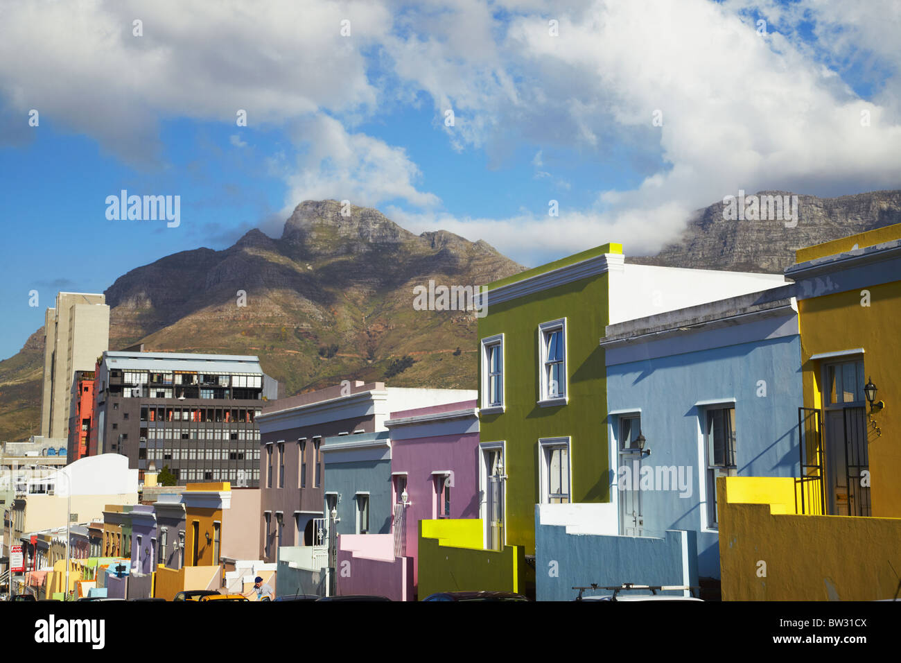 Colourful houses, Bo-Kaap, Cape Town, Western Cape, South Africa - Stock Image