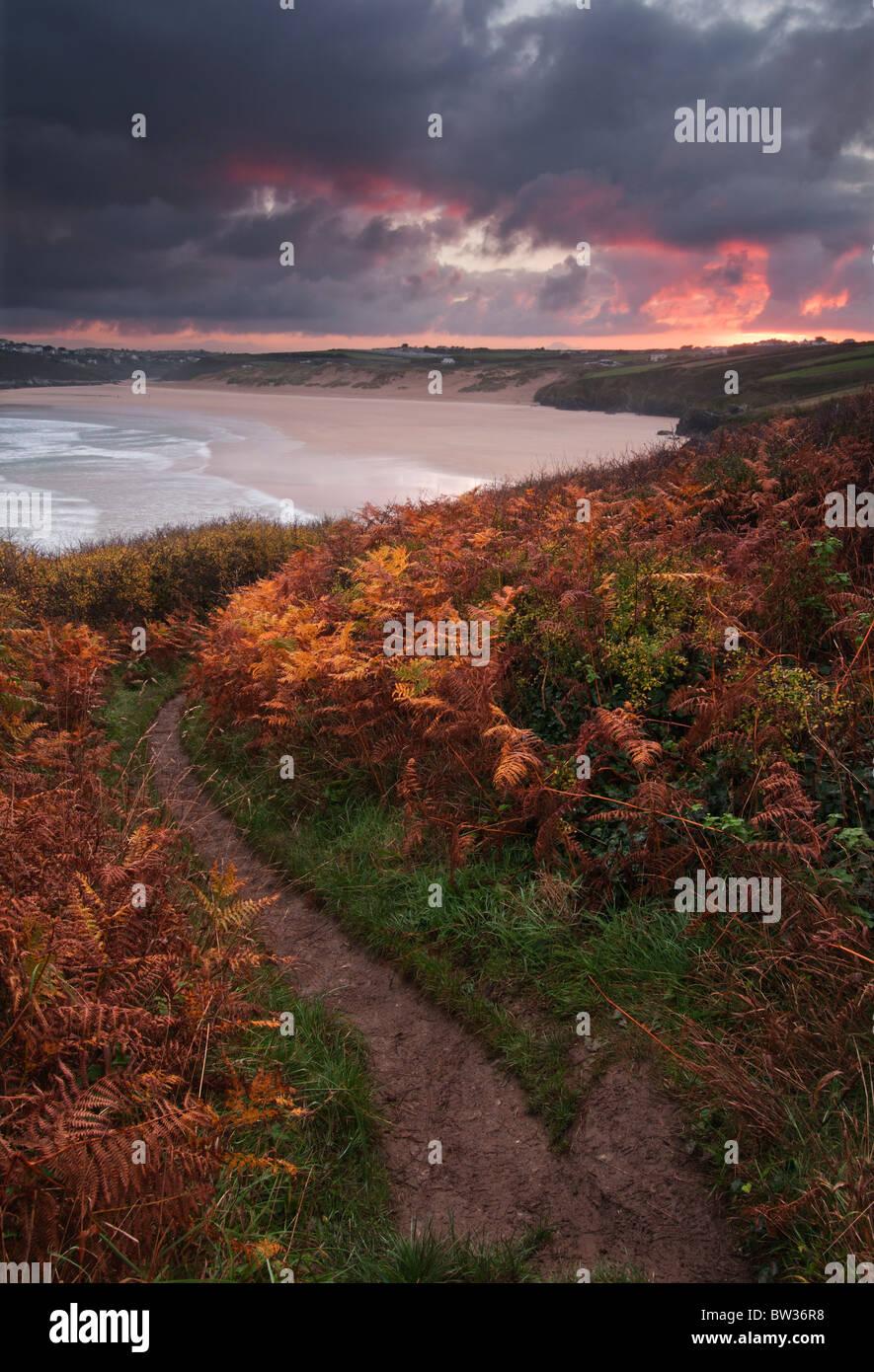 Autumn Sunrise over Crantock Bay near Newquay on the North Cornish coast - Stock Image