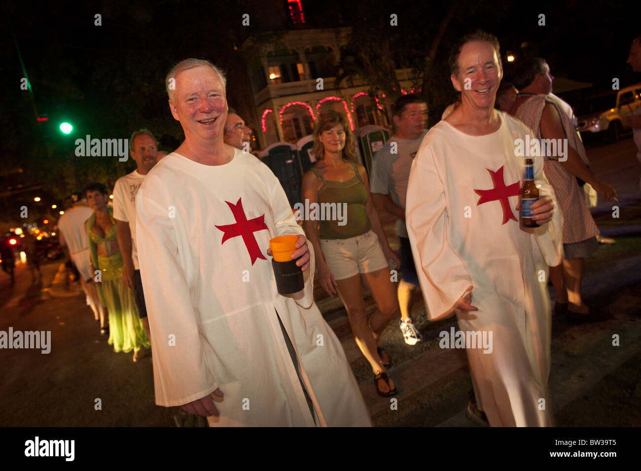 Costumed revelers during Fantasy Fest halloween parade in Key West, Florida. - Stock Image
