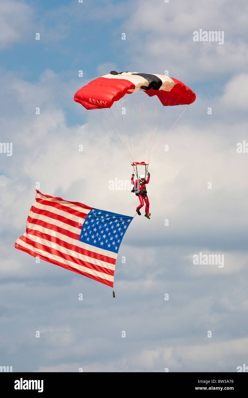 Red Devils Parachute Regiment Freefall Team performance at air show at NAS Jacksonville, Florida - Stock Image