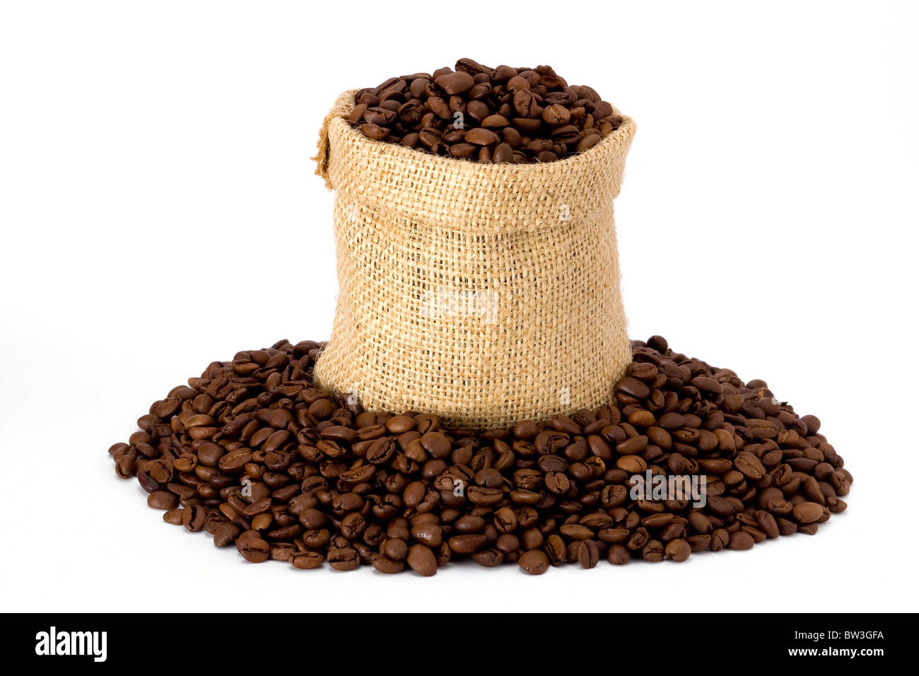 Coffee beans in burlap sack - Stock Image