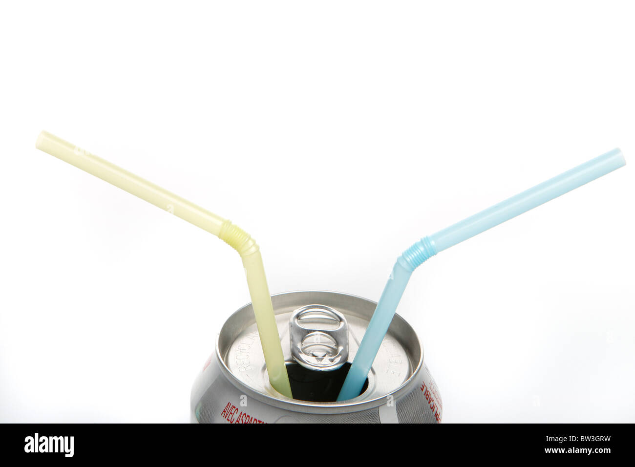 Soda can with two straws in it Stock Photo