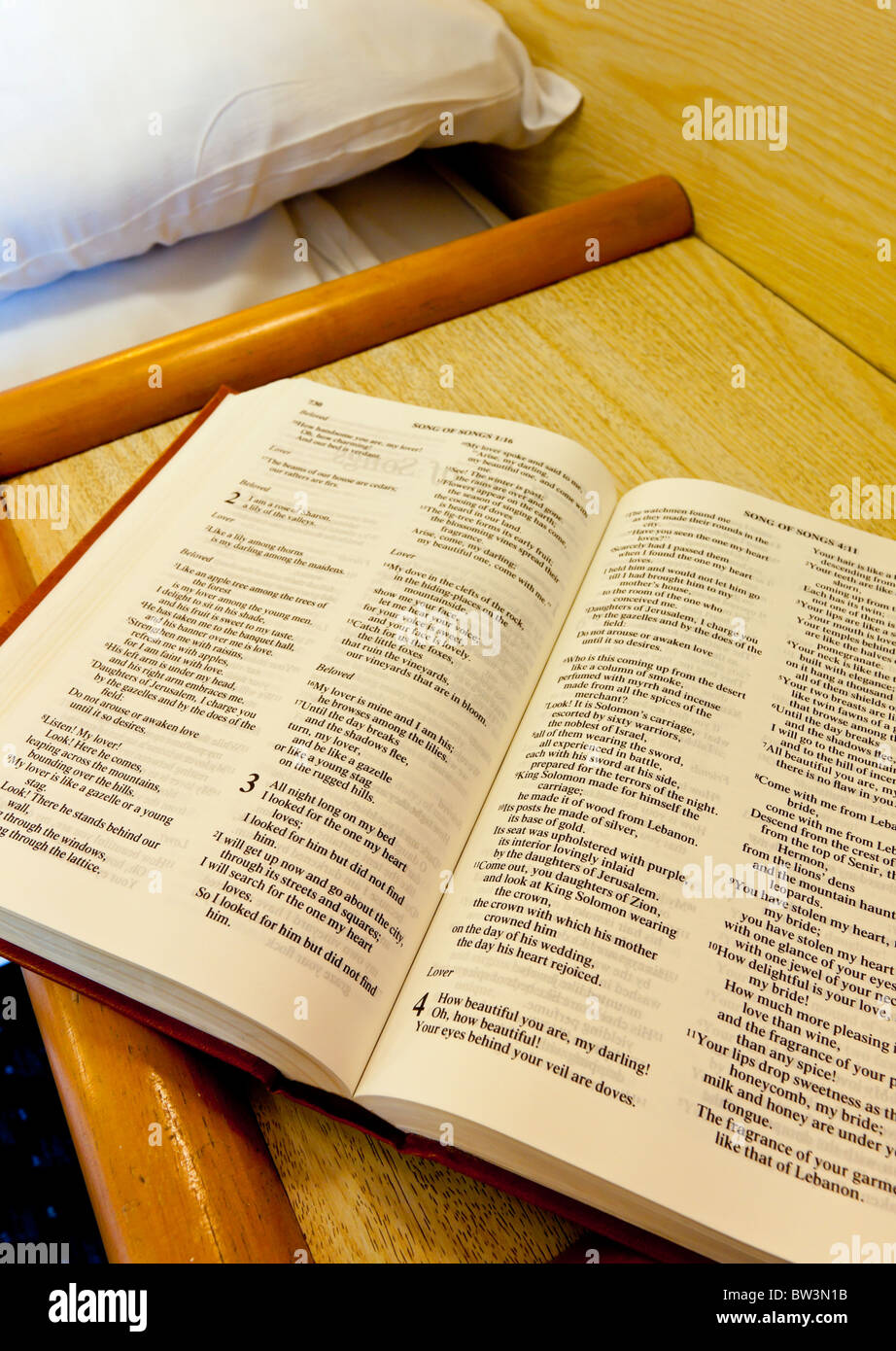 Gideon's Bible placed in a hotel room by Gideons International an evangelical Christian organization founded - Stock Image