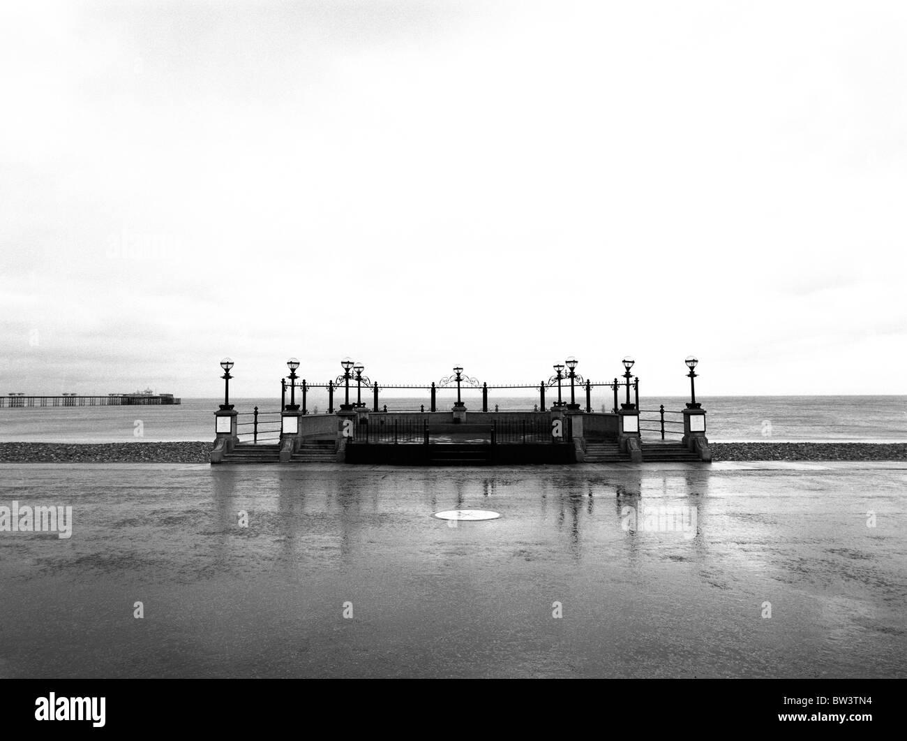 Llandudno bandstand with rain in b&w - Stock Image