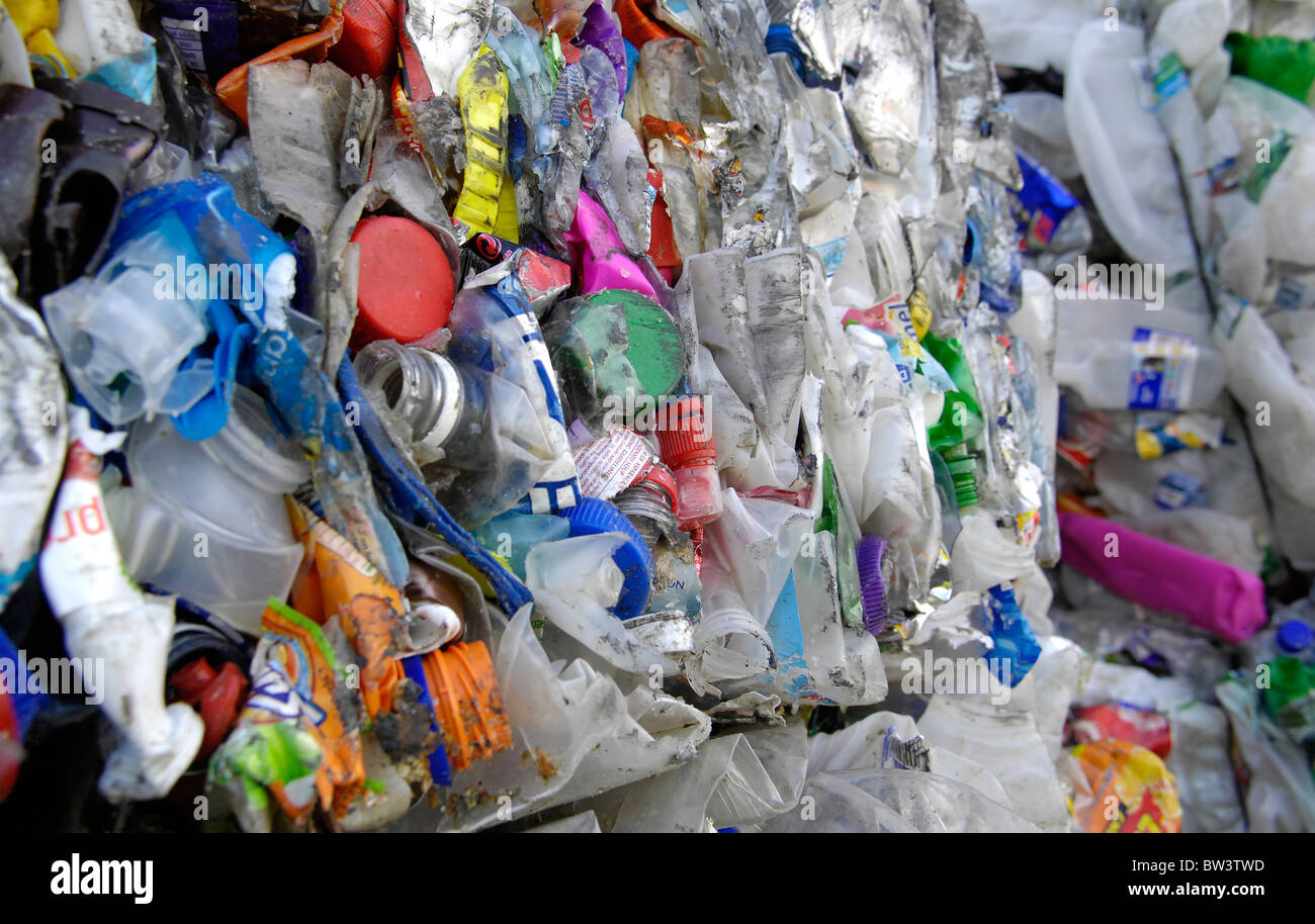 Plastic bottles bailed ready for transportation to the reprocessing centre after having been sorted at the Folkestone - Stock Image